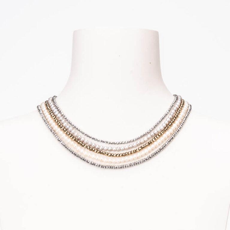 Collana girocollo colletto perle bianche grigie