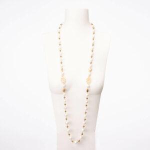 Collana lunga incatenata perle oro 1