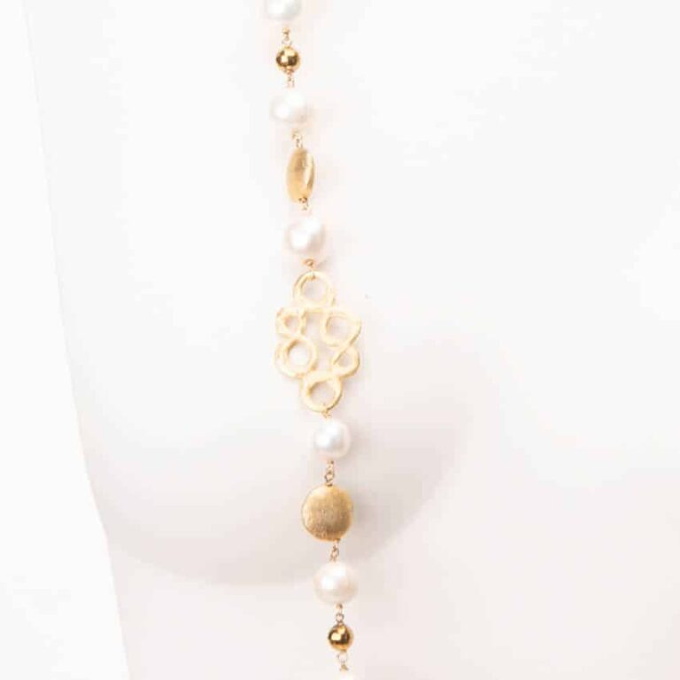 Collana lunga incatenata perle oro 2