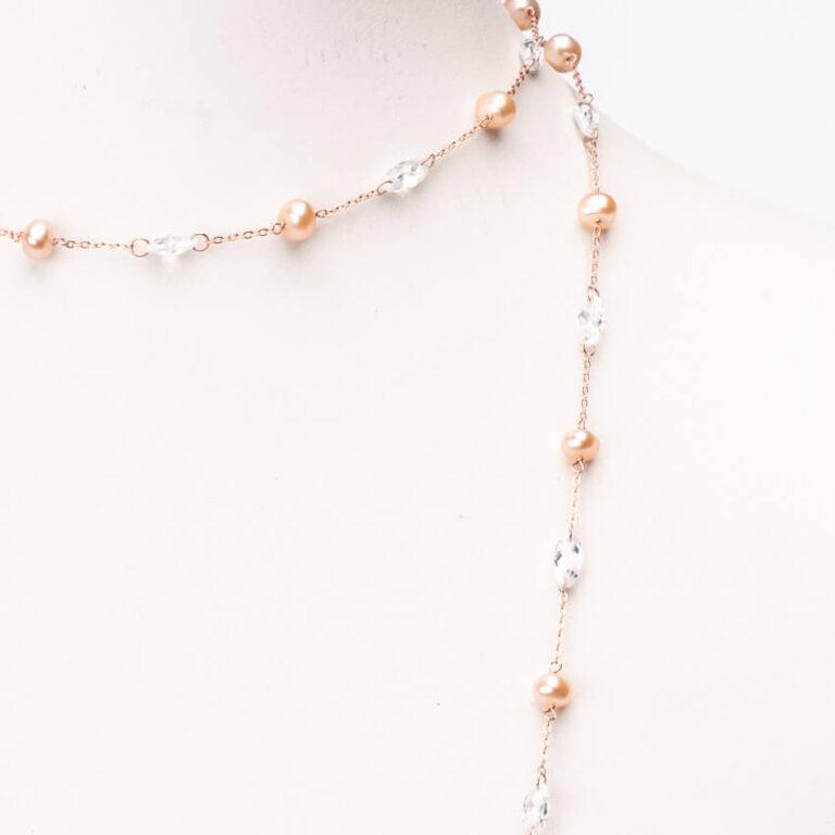 Collana lunga sottile oro rosa perle rosa zirconi 2