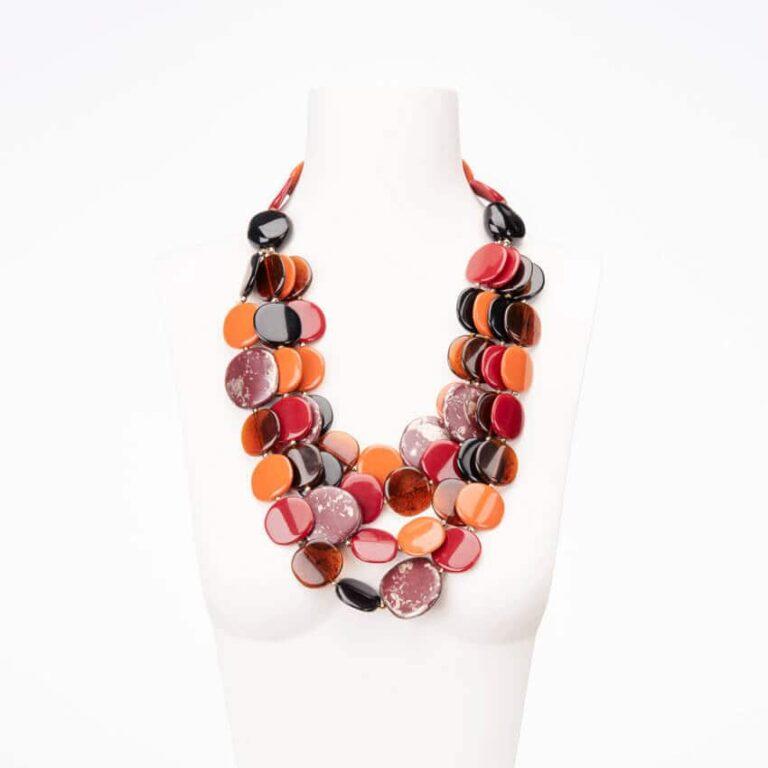 Collana multifili resina arancione nera bordeaux