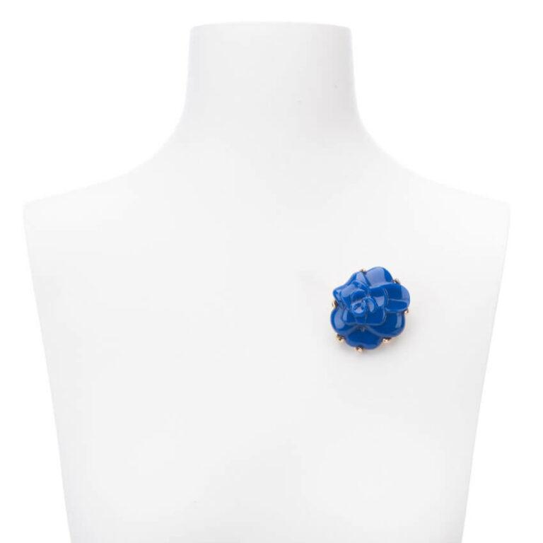 Spilla colore blu modello camelia 2