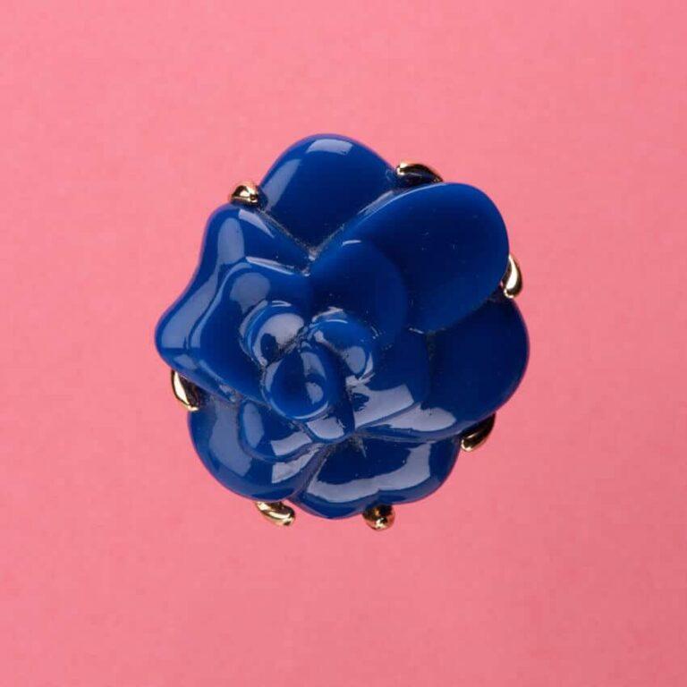 Spilla colore blu modello camelia 3
