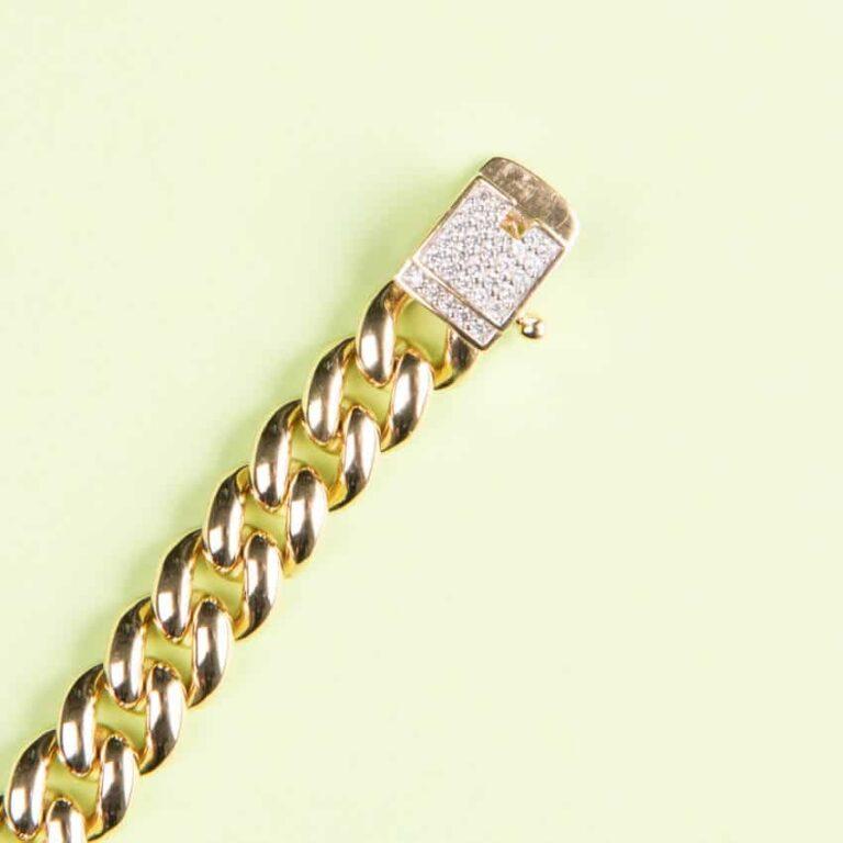 Braccialetto modello grumetta oro chiusura pavè zirconi 03