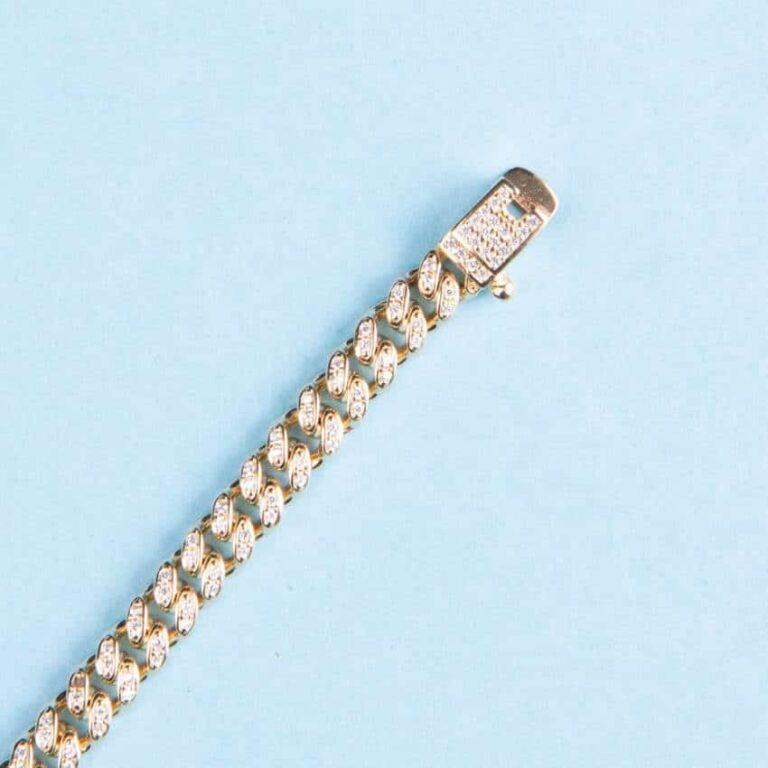 Braccialetto modello grumetta oro zirconi 2