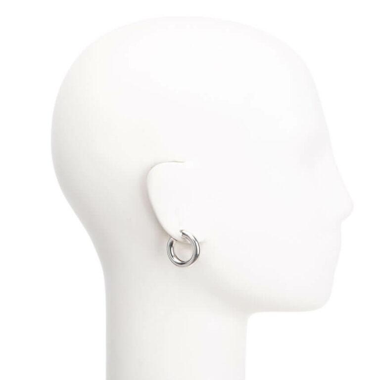 Orecchini perno cerchio canna larga argento lucido 2