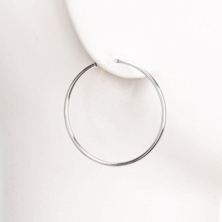 Orecchini perno cerchio canna sottile argento lucido S 1