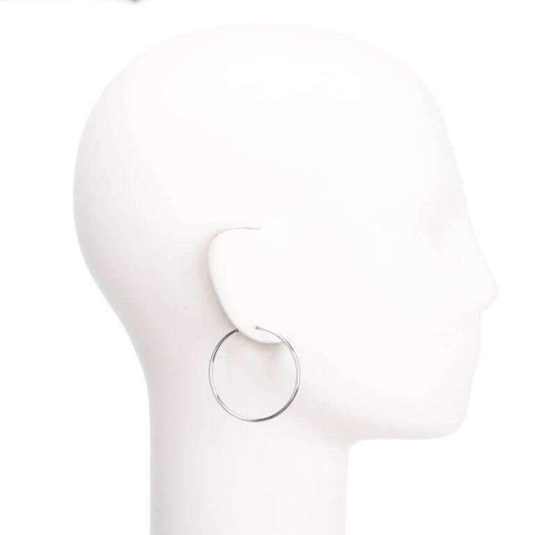 Orecchini perno cerchio canna sottile argento lucido S 2
