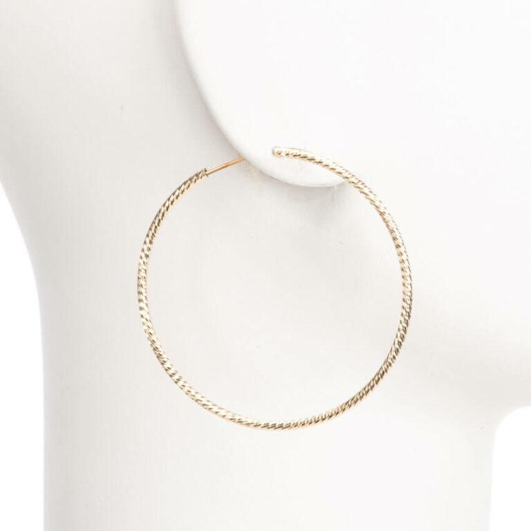 Orecchini perno cerchio sottile placcato oro diamantato M 1
