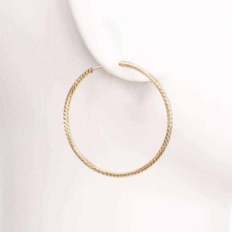 Orecchini perno cerchio sottile placcato oro diamantato S 2