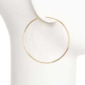 Orecchini perno cerchio sottile placcato oro lucido L 1