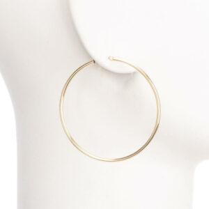 Orecchini perno cerchio sottile placcato oro lucido M 1