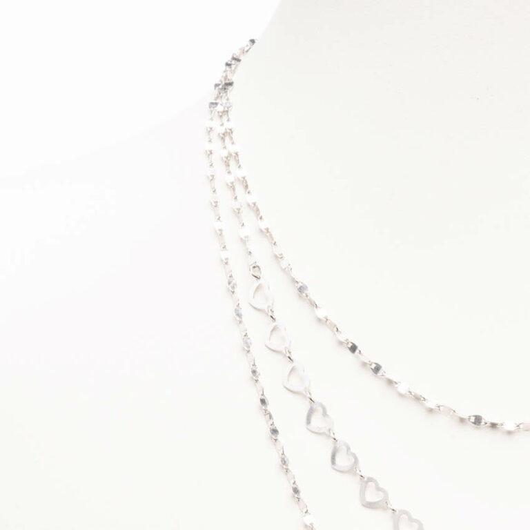 Collana girocollo catenine miste tre lunghezze argento 1