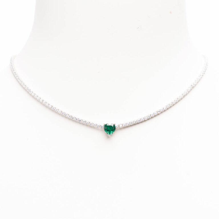Collana girocollo modello tennis centrale cuore smeraldo 2