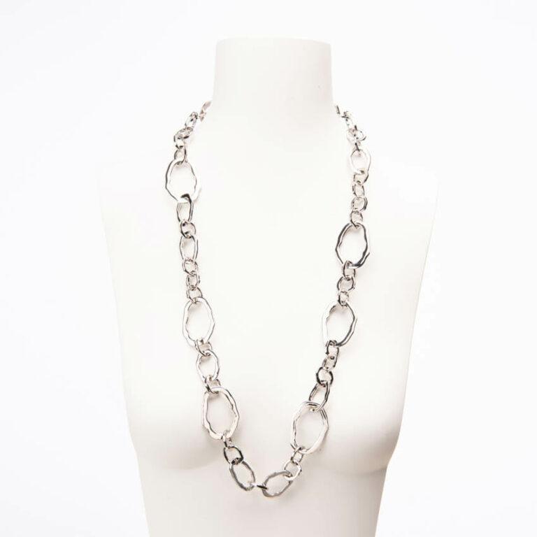 Collana lunga catena anelli irregolari argento