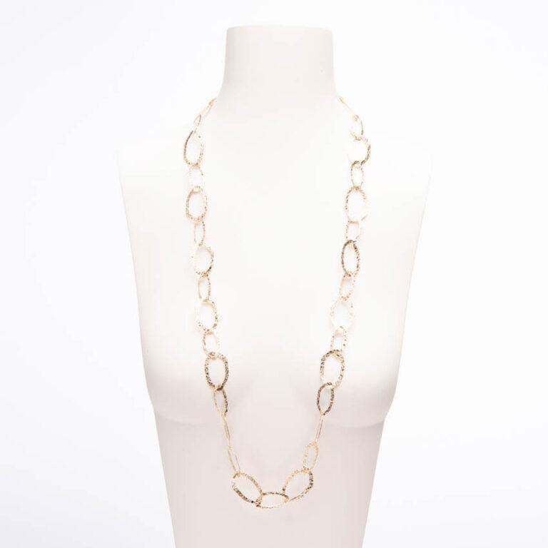 Collana lunga catena anelli irregolari lavorato a reticolo 1