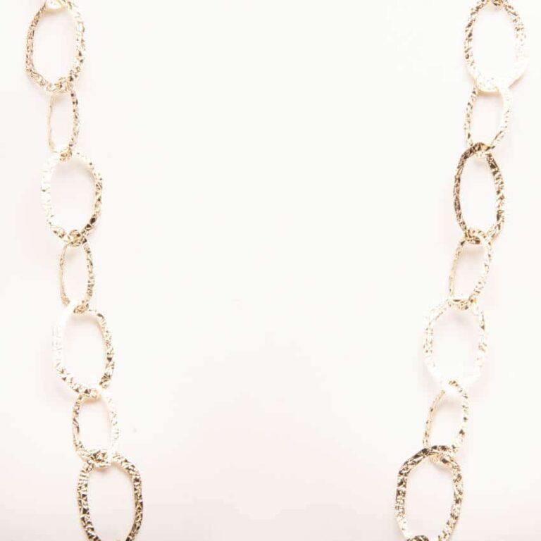 Collana lunga catena anelli irregolari lavorato a reticolo 2