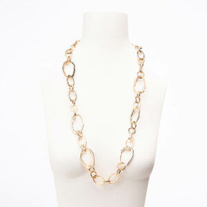 Collana lunga catena anelli irregolari oro