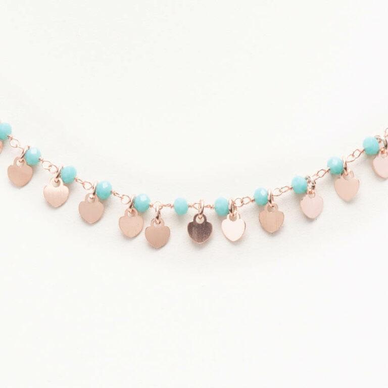 Collanina girocollo rosario turchese ciondoli cuore oro 1