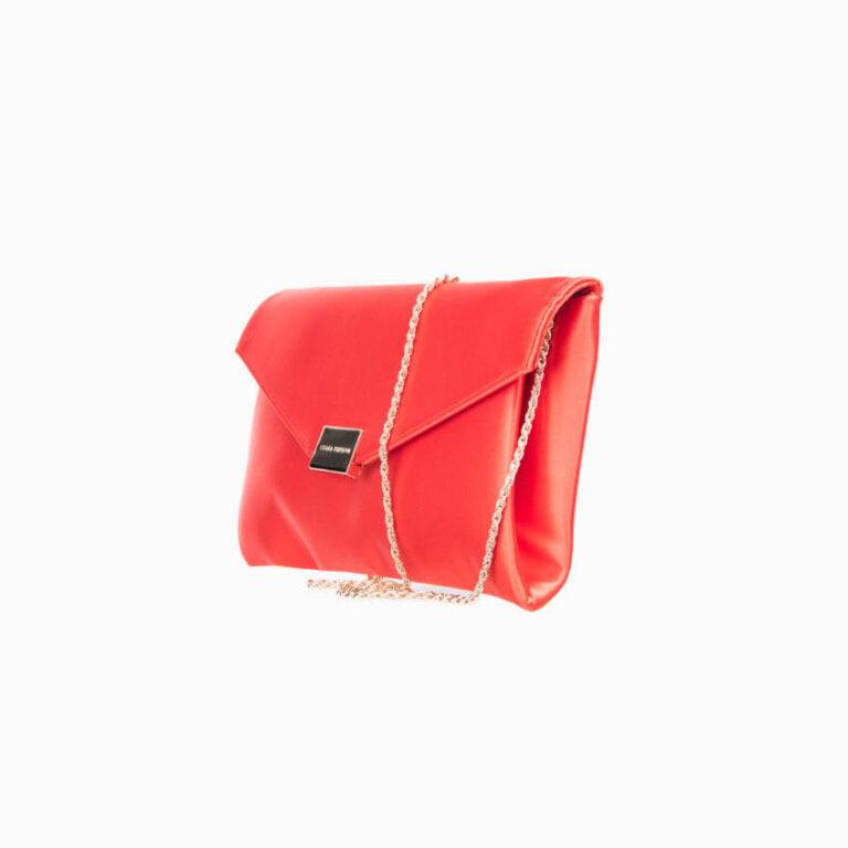 Pochette busta raso seta rosso corallo 3
