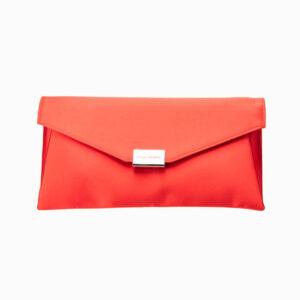 Pochette busta raso seta rosso corallo 1