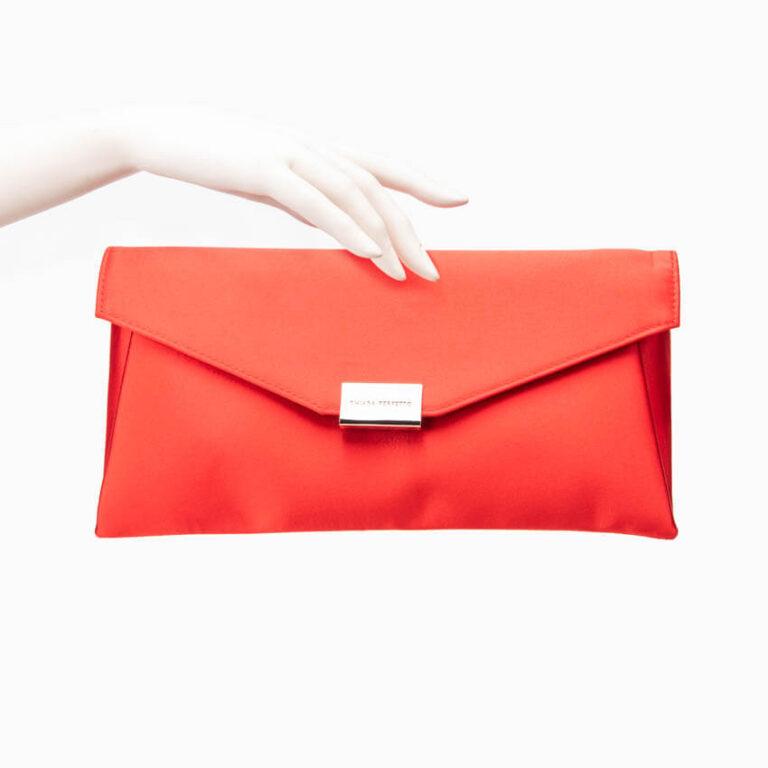 Pochette busta raso seta rosso corallo 2