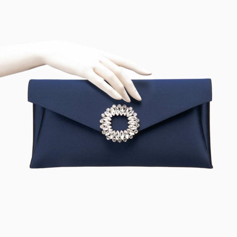 Pochette elegante seta blu decorazione gioiello 1