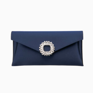 Pochette elegante seta blu decorazione gioiello 2