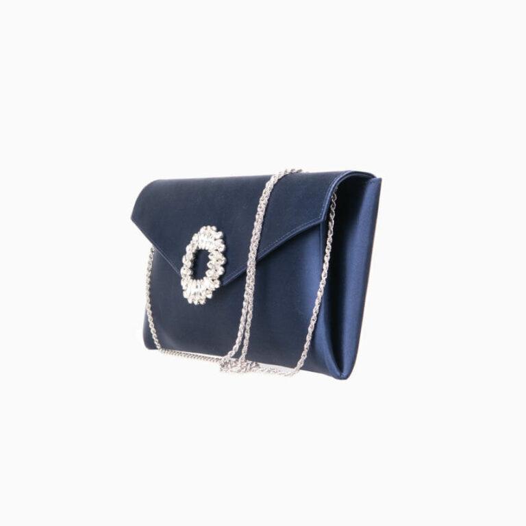 Pochette elegante seta fuxia decorazione gioiello 3