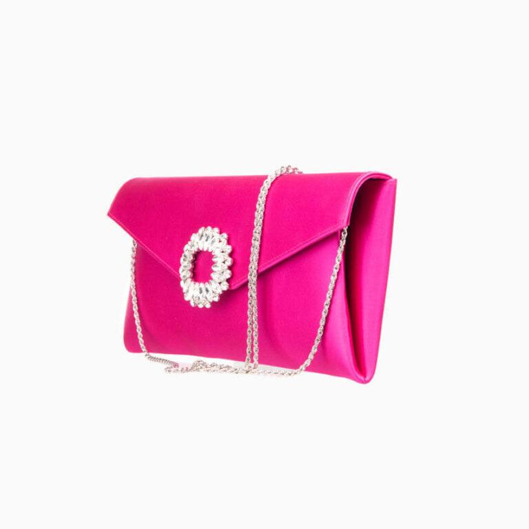 Pochette elegante seta fuxia decorazione gioiello 1