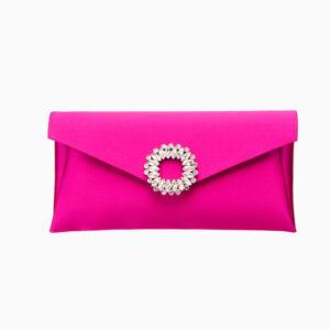Pochette elegante seta fuxia decorazione gioiello 2