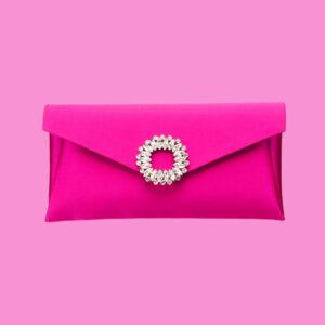 Pochette elegante seta fuxia decorazione gioiello 2a