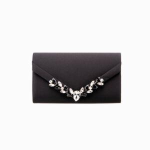 Pochette elegante seta nera decorazione gioiello 5