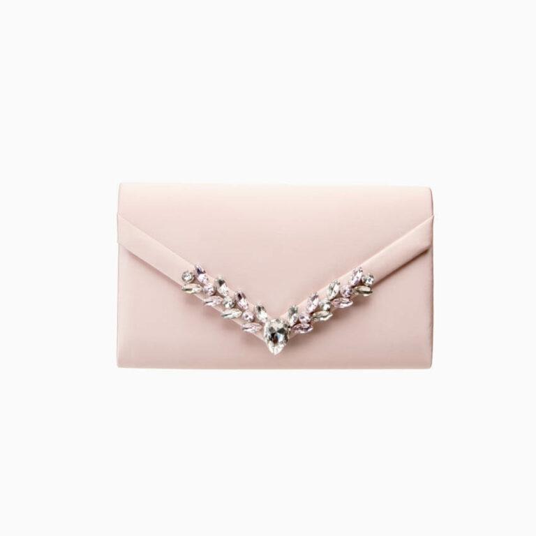 Pochette elegante seta rosa cipria decorazione gioiello 1
