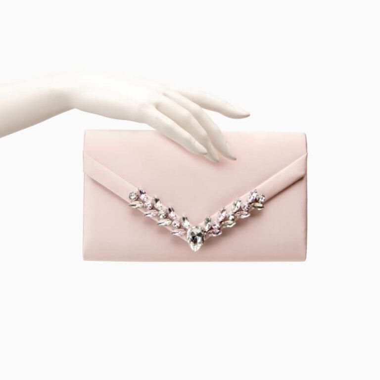 Pochette elegante seta rosa cipria decorazione gioiello 2