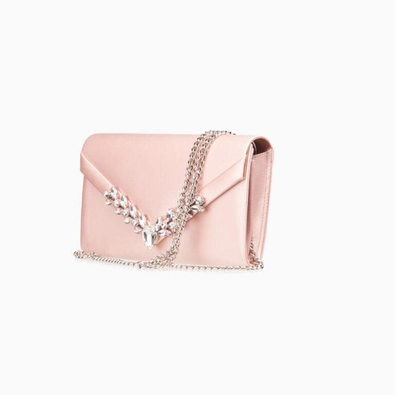 Pochette elegante seta rosa cipria decorazione gioiello 3