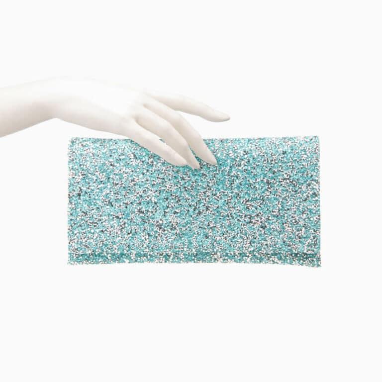 Pochette tessuto cristalli azzurro acquamarina 4