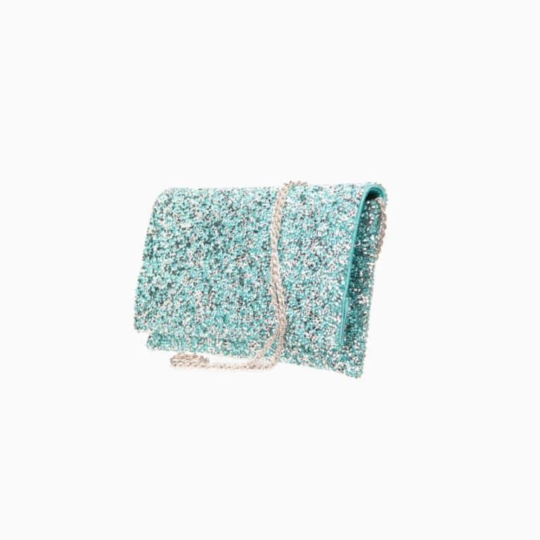 Pochette tessuto cristalli azzurro acquamarina 6