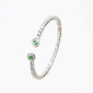 Bracciale tennis semirigido zirconi corona cabochon smeraldo 3
