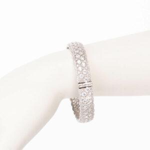 Braccialetto rigido argento zirconi lavorazione merletto 1