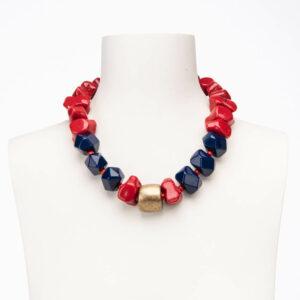 Collana corta girocollo rosso corallo blu oro satinato