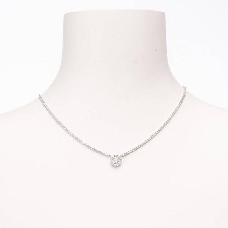Collana girocollo brillante con pendente motivo fiore zirconi 2