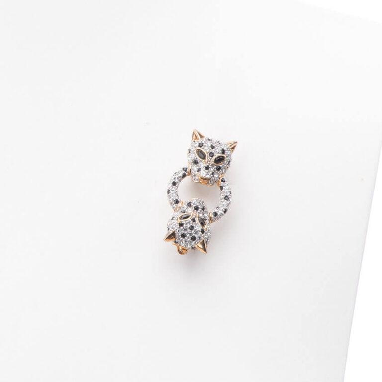 Spilla classica argento zirconi testa pantera