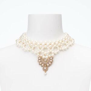 Collana choker pizzo perle cristalli