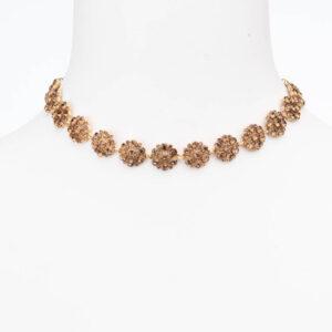 Collana girocollo choker cristalli topazio oro antico
