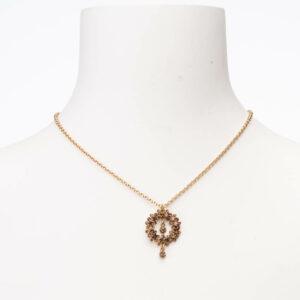 Collana girocollo con ciondolo cristalli topazio oro antico
