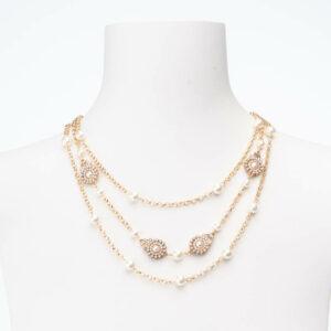 Collana girocollo tre fili perle oro cristalli