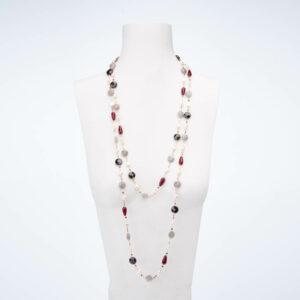 Collana lunga argento rosè perle quarzo granato labradorite 1