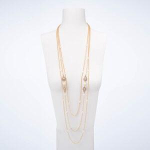 Collana lunga tre fili perle oro cristalli 1