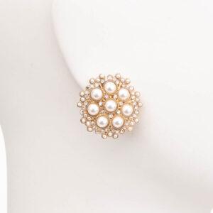 Orecchini clip bottone oro perle 1